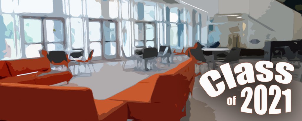 """Stylized image of the FNB lobby with the text """"Class of 2021"""" in the bottom-right corner."""