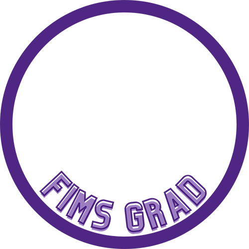 """FIMS Grad Facebook Frame - Circular, purple frame with the words """"FIMS Grad""""."""
